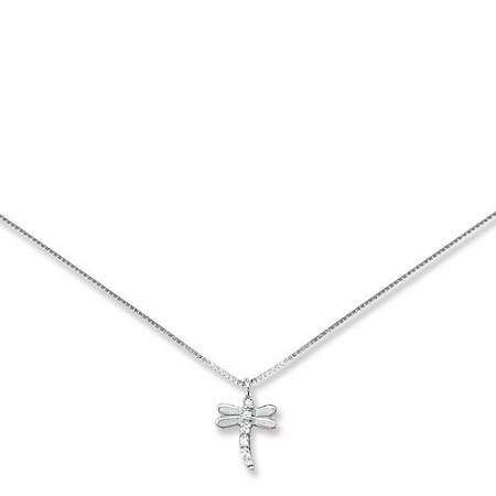9ct white gold dragonfly pendant on chain aloadofball Gallery
