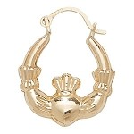 9ct Gold Claddagh Creole  Earrings