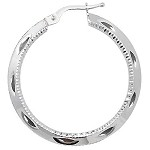 9ct White Gold Diamond Cut Hoop Earrings