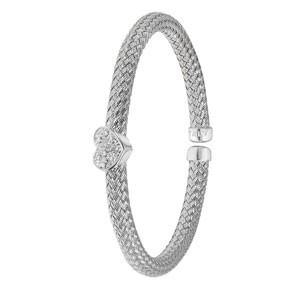 Sterling Silver Cuff Bangle With Cubic Zirconia Heart