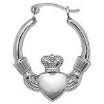 Sterling Silver Claddagh Creole Earrings
