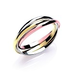 9ct  3 Colour Gold Russian Wedding / Fashion Ring