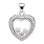 Sterling Silver Heart Pendant With Floating Cubic Zirconia's