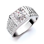 Sterling Silver Gents Cubic Zirconia Ring
