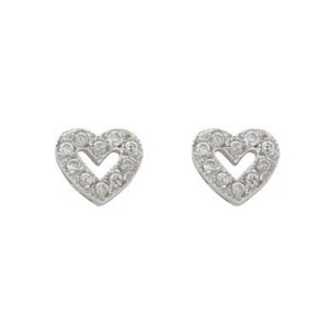 9ct White Gold Cubic Zirconia Heart Studs