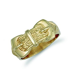 9ct Gold Solid Double Buckle Ring