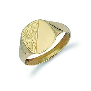 9ct Gold Cushion Engraved Signet Ring