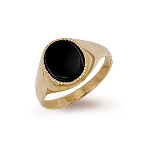 9ct Gold Black Oval Onyx Ring