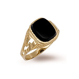 9ct Gold Black Cushion Onyx Ring