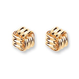 9ct Gold Rope Cube Stud Earrings