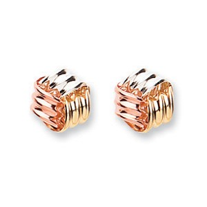 9ct 3 Colour Gold Rope Cube Stud Earrings