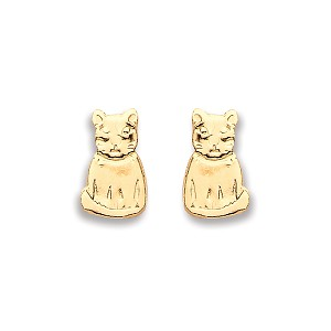 9ct Gold Cat Stud Earrings