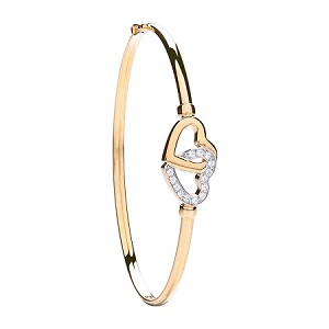 9ct Gold Double Hearts Cubic Bangle
