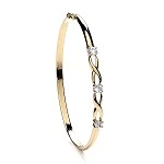 9ct Gold Ladies Cubic Zirconia Bangle