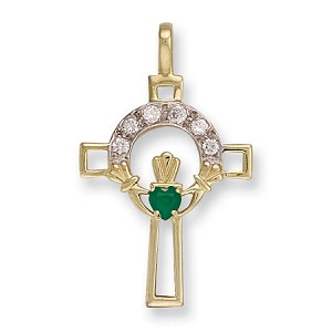 9ct Gold CZ Claddagh Cross