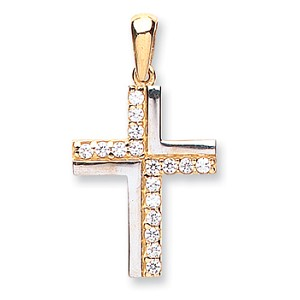 9ct 2 Colour Gold Cubic Zirconia Cross