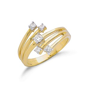 9ct Gold Diamond Ladies Dress Ring