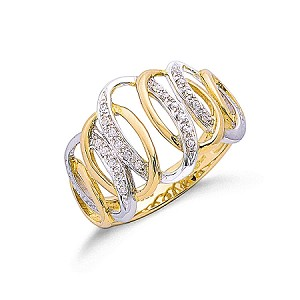 9ct Two Colour Gold Ladies Diamond Ring