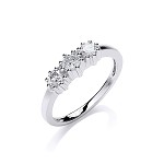 9ct White Gold Diamonds Trilogy Ring