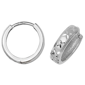 9ct White Gold Hinged Small Hoop Earrings