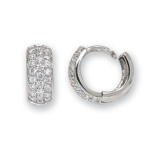 9ct White Gold Hinged Cubic Zirconia Hoop Earrings