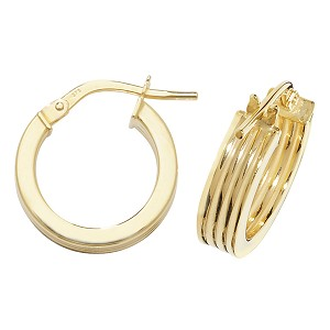 9ct Gold Pattern Wide Hoop Earrings