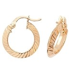 9ct Gold Small Diamond Cut Hoop Earrings