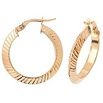 9ct Gold Diamond Cut Hoop Earrings
