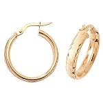 9ct Gold  Wide Hoop Earrings