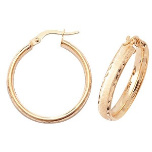 9ct Gold Satin Finish Hoop Earrings