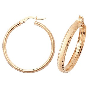 9ct Gold Large Satin Finish Hoop Earrings