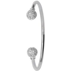 Sterling Silver Cubic Zirconia Baby Torque Bangle