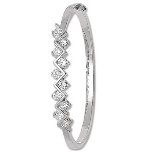 Sterling Silver Ladies Bangle With Cubic Zirconia's