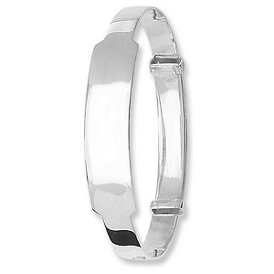Sterling Silver Wide Expandable Baby ID Bangle