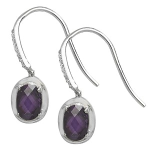 Sterling Silver Amethyst And Cubic Zirconia Drop Earrings