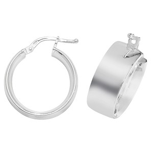 Sterling Silver Flat Wide Plain Hoop Earrings