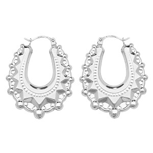 Sterling Silver Victorian Creole Earrings