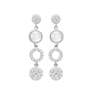Sterling Silver Cubic Zirconia And Mother Of Pearl Drop Earrings