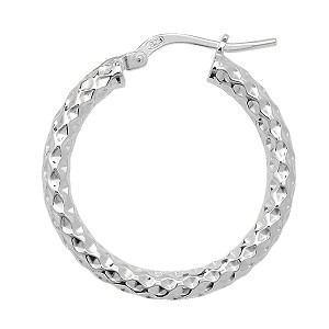 Sterling Silver Patterned Hoop Earrings