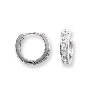Sterling Silver  Small Cubic Zirconia Hoop Earrings
