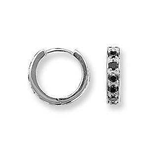 Sterling Silver Small Black CZ Hoop Earrings