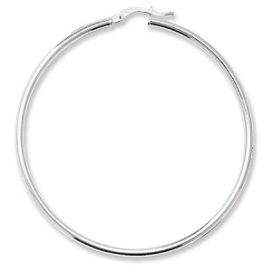 Sterling Silver Large Plain Hoop Earrings