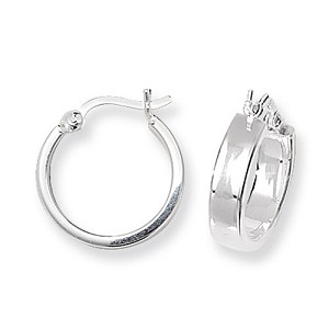 Sterling Silver Flat Plain Hoop Earrings