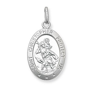 Sterling Silver Oval St Christopher Pendant