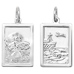 Sterling Silver Rectangle St Christopher Pendant