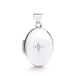 9ct White Gold Locket With Genuine Diamond