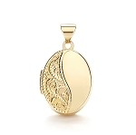 9ct Gold Paterned Oval Locket
