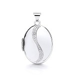9ct White Gold Locket With Diamonds