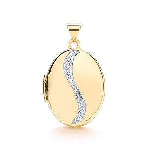 9ct Gold Oval  Locket With Genuine Diamond