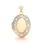 9ct Gold 2 Colour  Pattern Locket